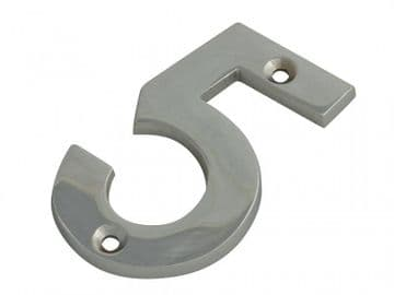 Numeral No.5 - Chrome Finish 75mm (3in)